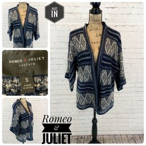 Romeo & Juliet Couture Blue Open Front Cardigan